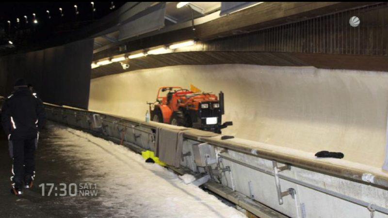So wird eine Bobbahn vorbereitet (Foto: SAT.1 NRW)