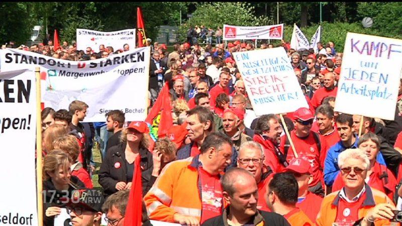 Proteste bei Siemens (Foto: SAT.1 NRW)