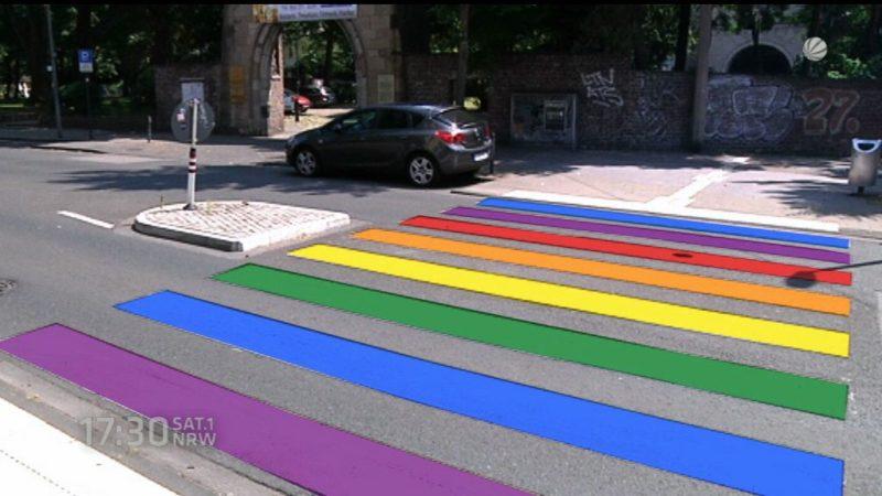 Homo-Zebrastreifen und Homo-Ampeln für Köln (Foto: SAT.1 NRW)