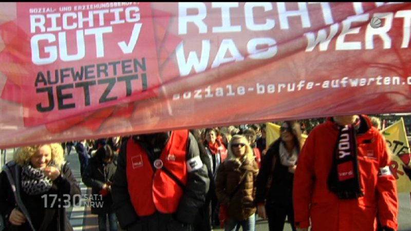 Erzieher protestieren in Düsseldorf (Foto: SAT.1 NRW)