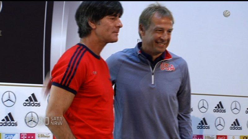 Löw und Klinsmann gemeinsam bei Pressekonferenz in Köln (Foto: SAT.1 NRW)