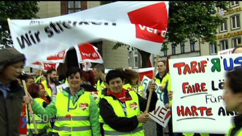 Nächste Streikkundgebung in Düsseldorf (Foto: SAT.1 NRW)