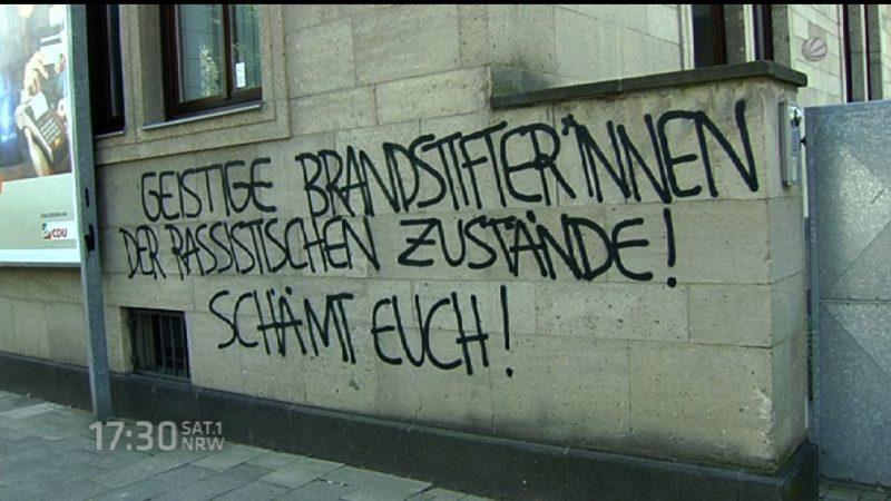 Schmierereien an der CDU Zentrale in Düsseldorf (Foto: SAT.1 NRW)