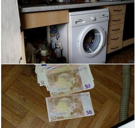 3500 Euro unter der Waschmaschine (Foto: https://www.facebook.com/braunundsohn-316146285067687/timeline/)