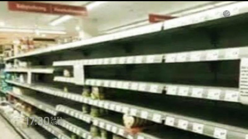 Supermarkt in Jüchen erntet Kritik für Flüchtlingshilfe (Foto: SAT.1 NRW)