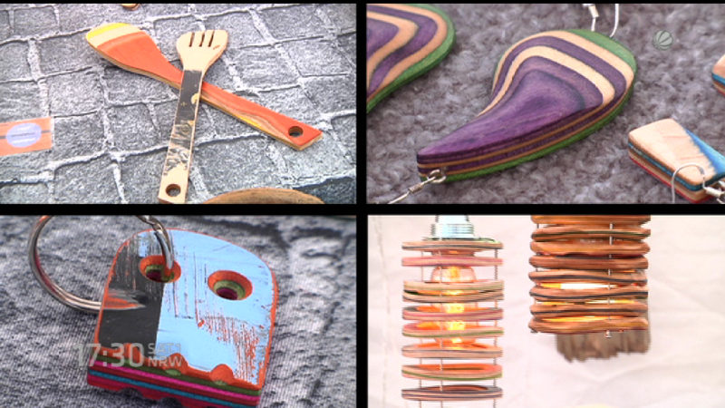 Alltagsgegenstände aus alten Skateboards (Foto: SAT.1 NRW)