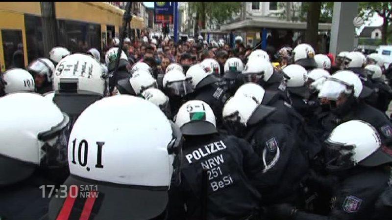 Ausschreitungen bei Kurden-Demo (Foto: SAT.1 NRW)