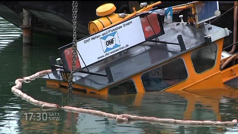 Schiff in Dorsten gesunken (Foto: SAT.1 NRW)