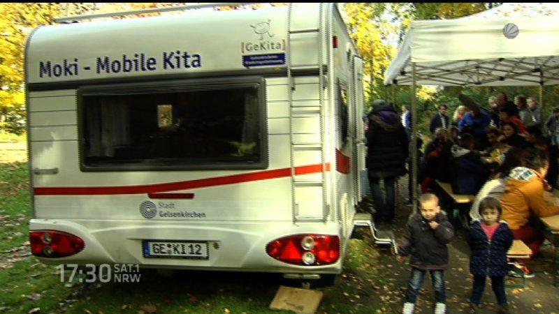 Familienministerin besucht mobile Kita in Gelsenkirchen (Foto: SAT.1 NRW)