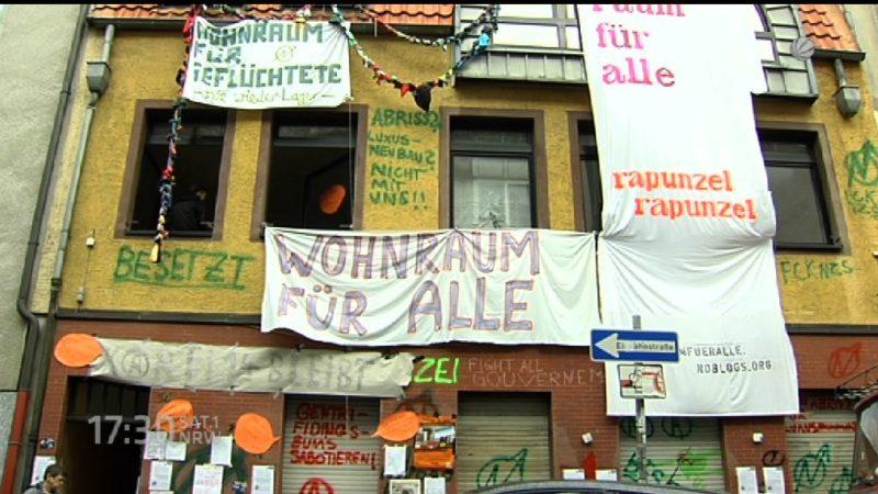 Besetztes Haus in Köln geräumt (Foto: SAT.1 NRW)