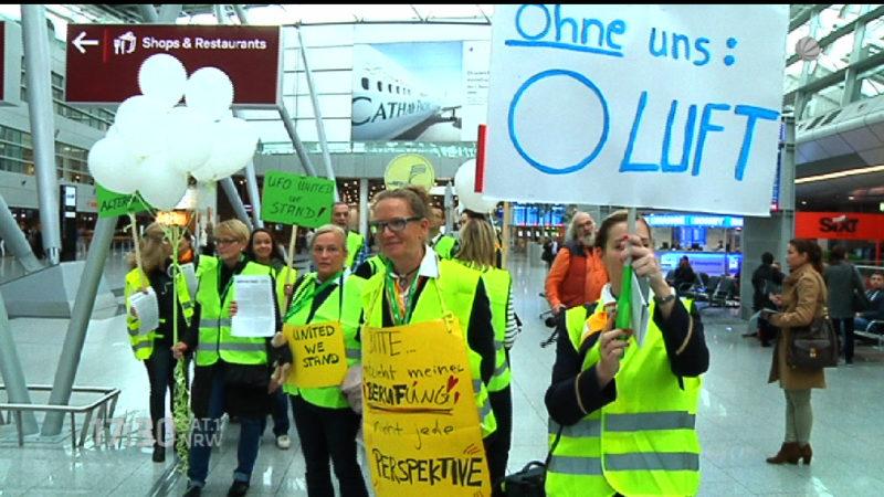Streik der Flugbegleiter (Foto: SAT.1 NRW)
