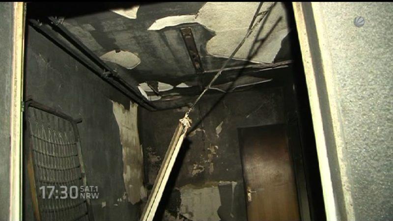 Feuer in einer Asylunterkunft (Foto: SAT.1 NRW)