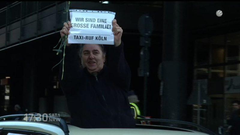 Taxi-Protest in Köln (Foto: SAT.1 NRW)