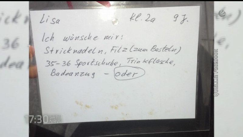 Dieser Wunschzettel rührt das Netz (Foto: SAT.1 NRW)