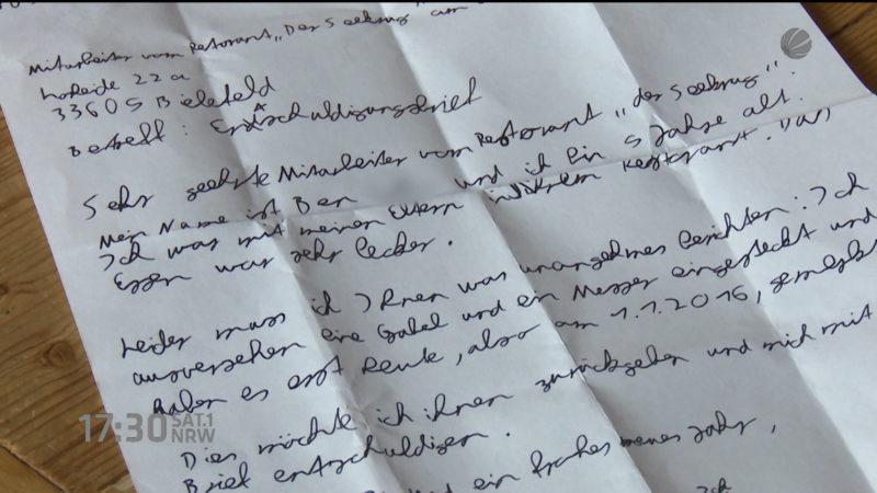 Besteck gestohlen: 9-Jähriger entschuldigt sich mit rührendem Brief (Foto: SAT.1 NRW)