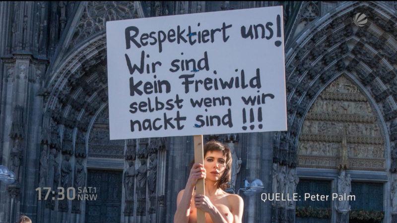 Morddrohungen nach Nacktprotest (Foto: SAT.1 NRW)