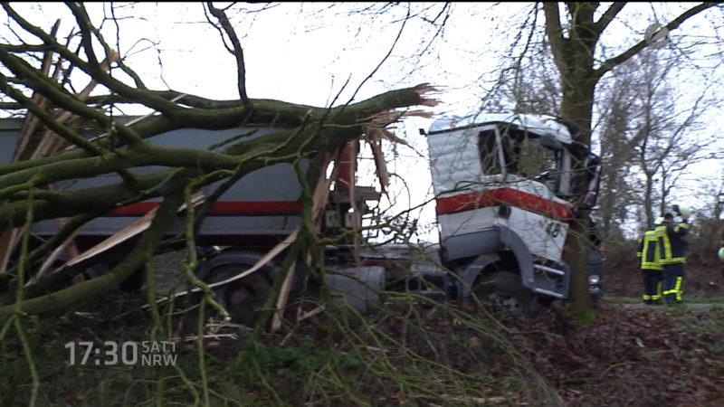 LKW fällt Bäume (Foto: SAT.1 NRW)