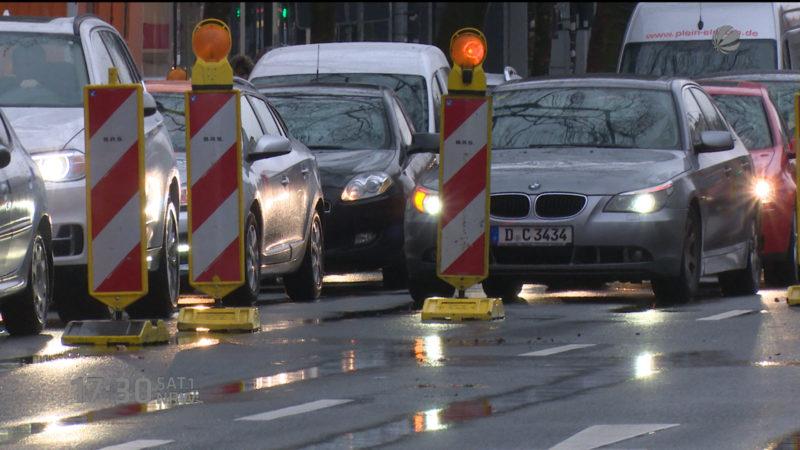 Verkehrschaos Düsseldorf (Foto: SAT.1 NRW)