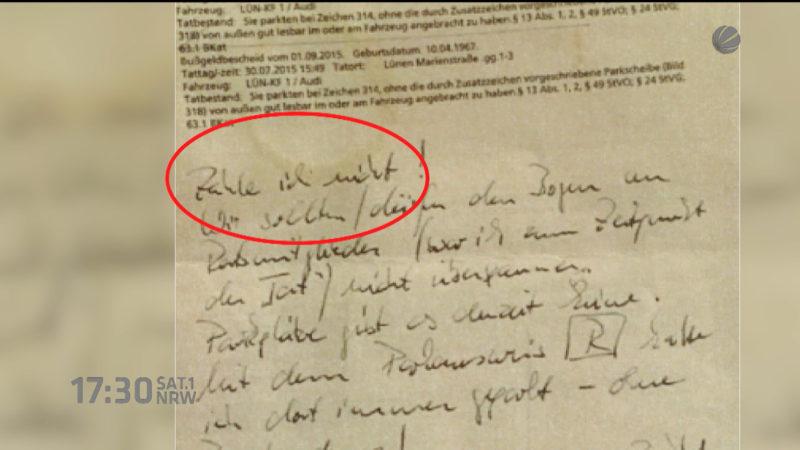 Bürgermeister will Knöllchen nicht zahlen (Foto: SAT.1 NRW)