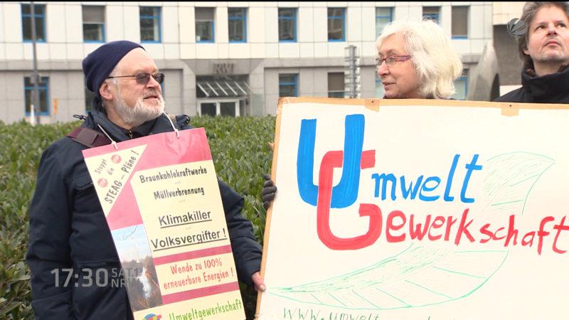 Umweltschützer demonstrieren gegen Braunkohle (Foto: SAT.1 NRW)