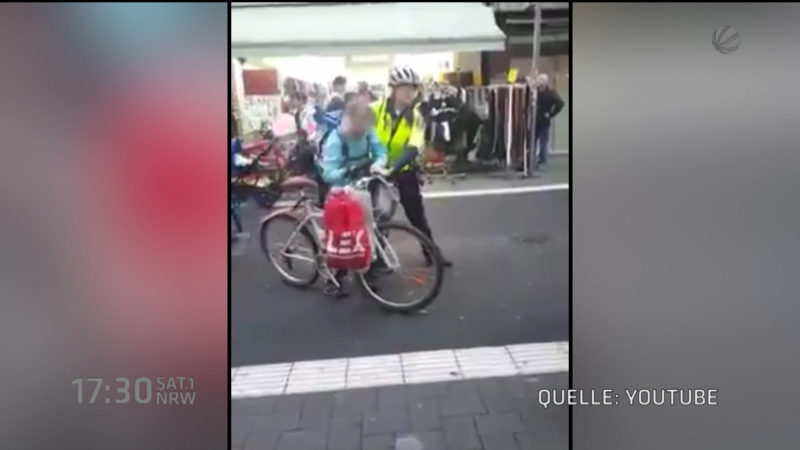 Großeinsatz wegen Radfahrerin (Foto: SAT.1 NRW)