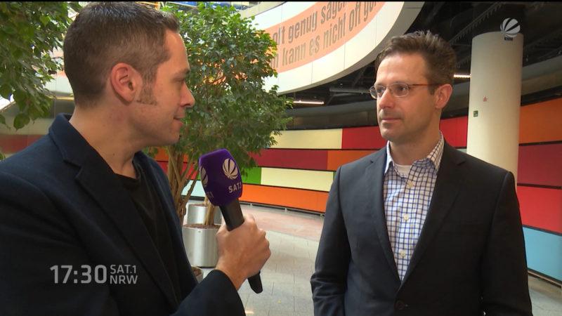 Interview mit AfD-Chef Marcus Pretzell (Foto: SAT.1 NRW)