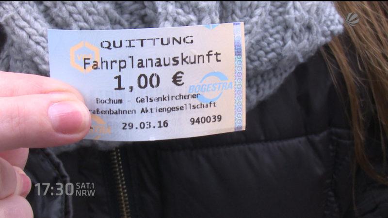 1 Euro Gebühr für Fahrplanauskunft (Foto: SAT.1 NRW)