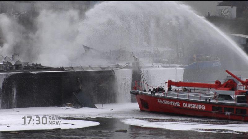Frachterexplosion im Duisburger Hafen (Foto: SAT.1 NRW)