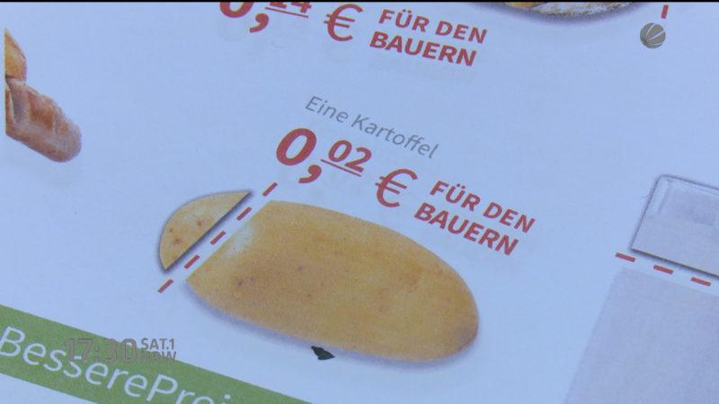 Bauern protestieren gegen Niedrigpreise (Foto: SAT.1 NRW)