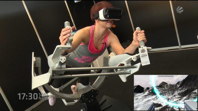 Virtuelles Fitnesstraining auf der Fibo (Foto: SAT.1 NRW)