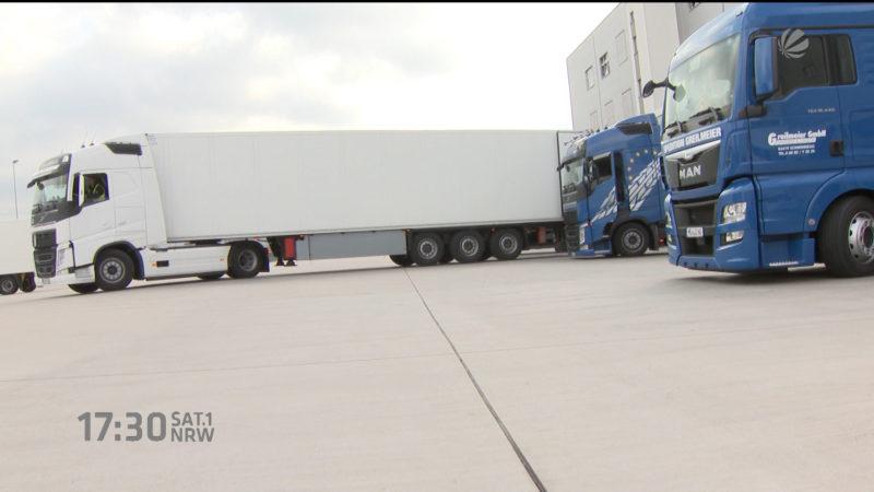 Riesen-LKW's vorgestellt (Düsseldorf) (Foto: SAT.1 NRW)