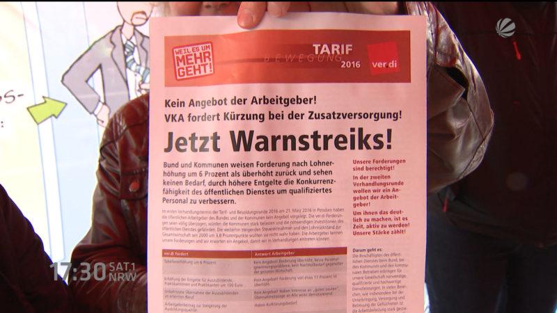 Warnstreiks im öffentlichen Dienst (Gelsenkirchen) (Foto: SAT.1 NRW)