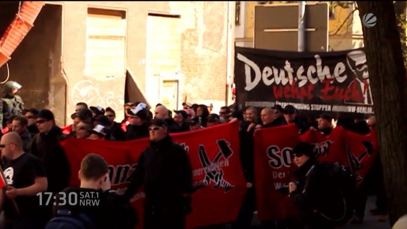 Nazi-Aufmarsch in Dortmund (Foto: SAT.1 NRW)