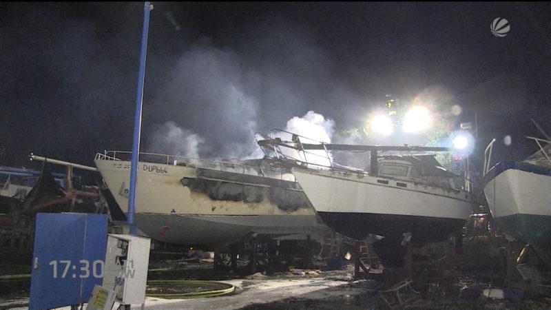 Yachten brennen in Castrop-Rauxel (Foto: SAT.1 NRW)