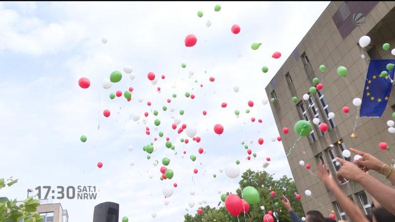 Luftballons zum Weltflüchtlingstag (Foto: SAT.1 NRW)