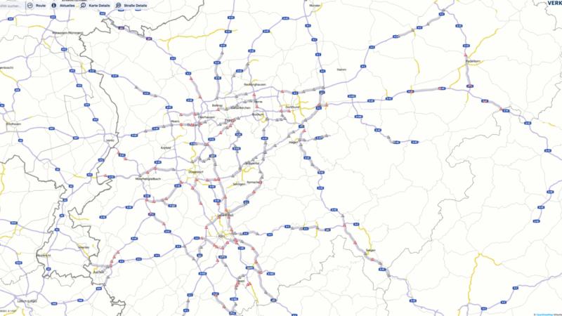 Geplante Baustellen 2017 in NRW (Foto:  OpenStreetMap/Verkehr.NRW)