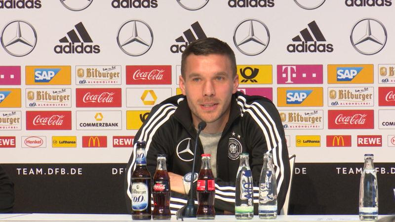 Abschiedsgrüße für Lukas Podolski (Foto: SAT.1 NRW)