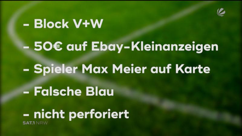 Gefälschte Eintrittskarten auf Schalke (Foto: SAT.1 NRW)