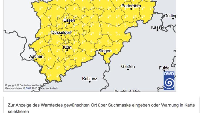 Wetterwarnungen in NRW (Foto: Deutscher Wetterdienst)