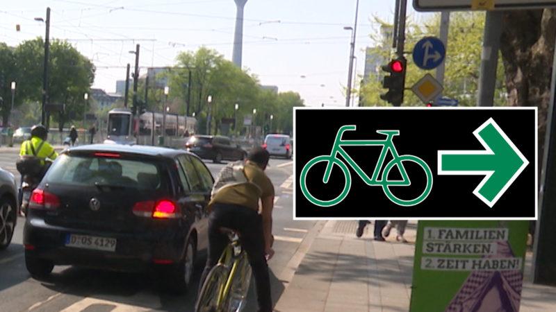 Grüner Pfeil für Radfahrer (Foto: SAT.1 NRW)