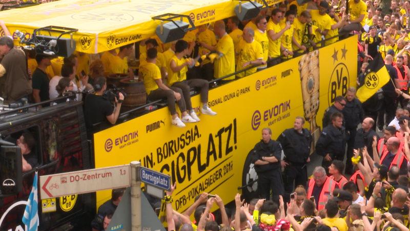 BVB feiert seinen Pokalsieg (Foto: SAT.1 NRW)