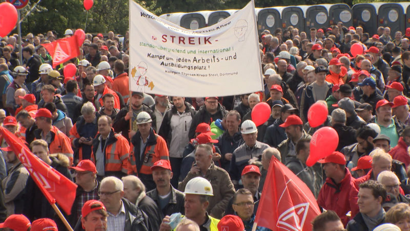 Stahl-Demo bei ThyssenKrupp (Foto: SAT.1 NRW)