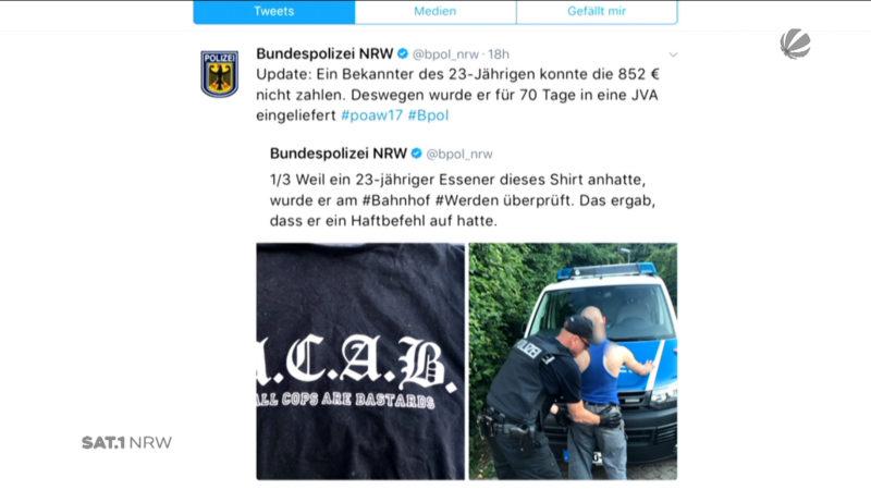 Haftbefehl gegen Shirt-Träger (Foto: Bundespolizei)