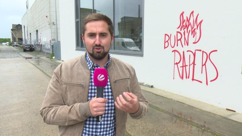 Kommentar zum Käserei-Graffiti (Foto: SAT.1 NRW)
