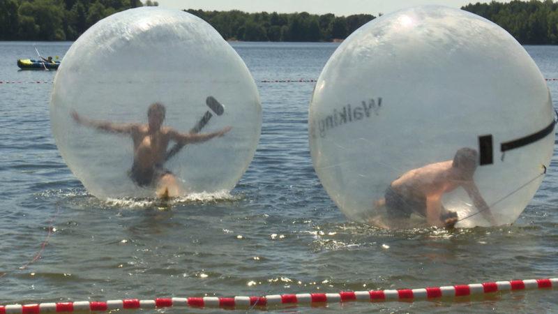 Im Ball übers Wasser laufen (Foto: SAT.1 NRW)
