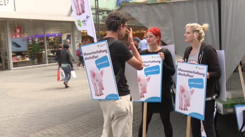 Köln: Tierschützer machen auf Mast-Affäre aufmerksam (Foto: SAT.1 NRW)