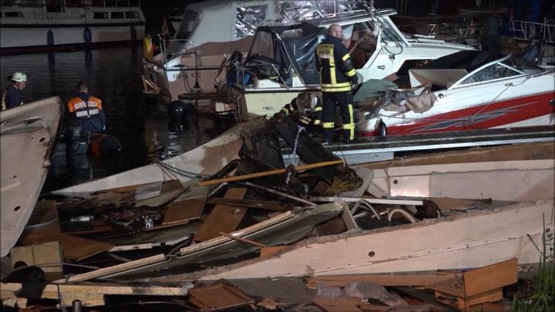Minden: Yacht im Hafen explodiert (Foto: SAT.1 NRW)