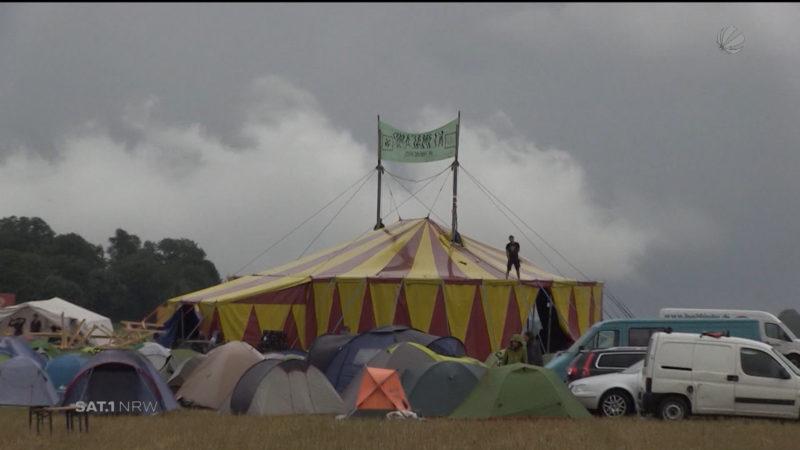 Start des Klimacamps (Foto: SAT.1 NRW)