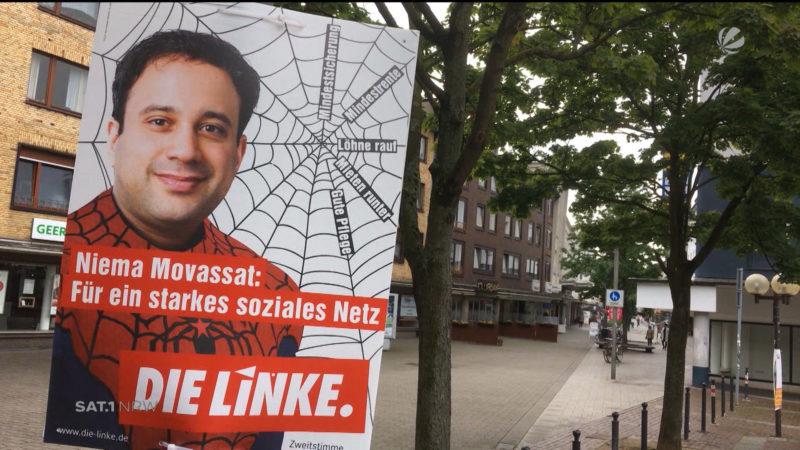 Als Spiderman auf Stimmenfang (Foto: SAT.1 NRW)