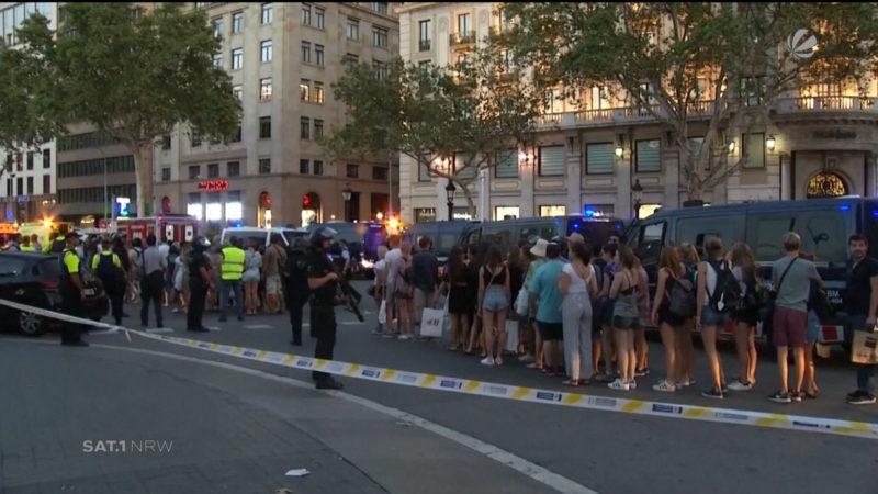 Reaktionen nach Terroranschlag in Barcelona (Foto: SAT.1 NRW)